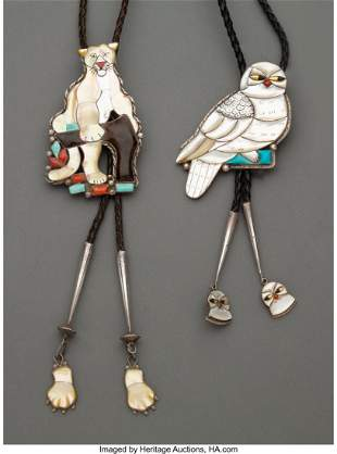 Two Southwest Bolo Ties c. 1970 and 1990 silv