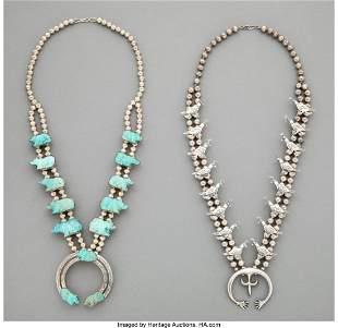 Two Navajo Squash Blossom Necklaces c. 1975 si