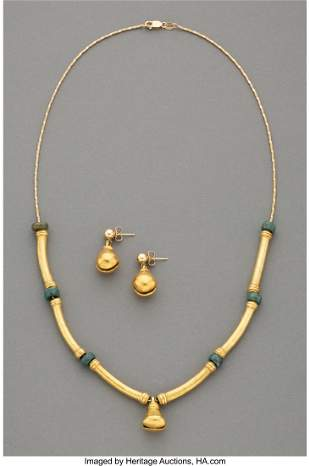 70199: A Pre-Columbian Jade and Gold Necklace and a Pai