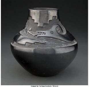 70040: A San Ildefonso Carved Blackware Jar Tony and