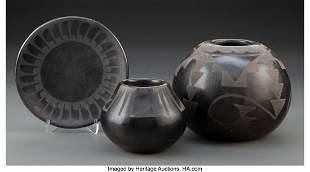 70045: Three San Ildefonso Pottery Items c. 1950 - 197