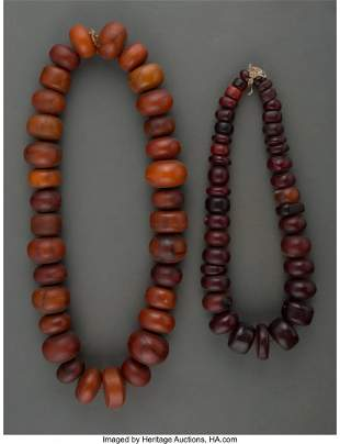 70245: Two Large African Amber Trade Bead Necklaces We