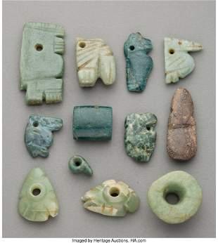 70364: Twelve Costa Rica Jade Ornaments Costa Rica, c.