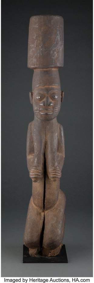 70372: A Large Yoruba Kneeling Figure Nigeria, c. 20th