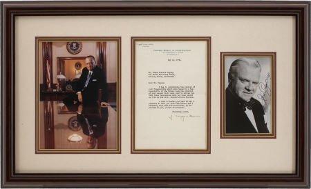 85021: James Cagney/J. Edgar Hoover Autographed Letter