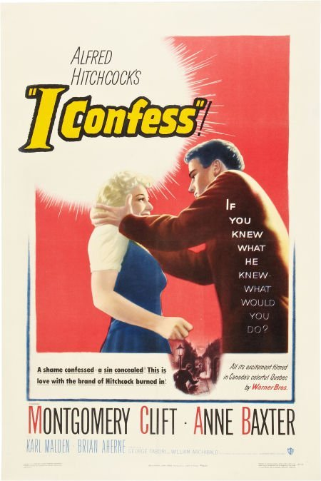 85750: I Confess (Warner Brothers, 1953). One Sheet (27