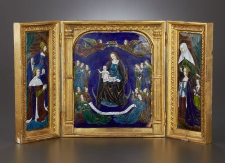 71004: A FRENCH ENAMEL ON COPPER TRIPTYCH Maker unknown
