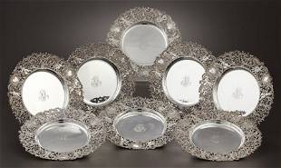 71108: A SET OF EIGHT AMERICAN SILVER PLATES Attributed