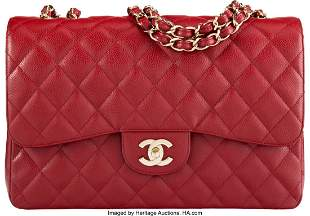 14139: Chanel Red Quilted Caviar Leather Jumbo Flap Bag
