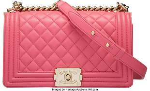14002: Chanel Pink Quilted Calfskin Leather Medium Boy