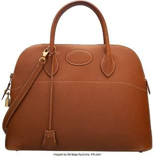 14143: Hermes Vintage 35cm Gold Epsom Leather Bolide Ba