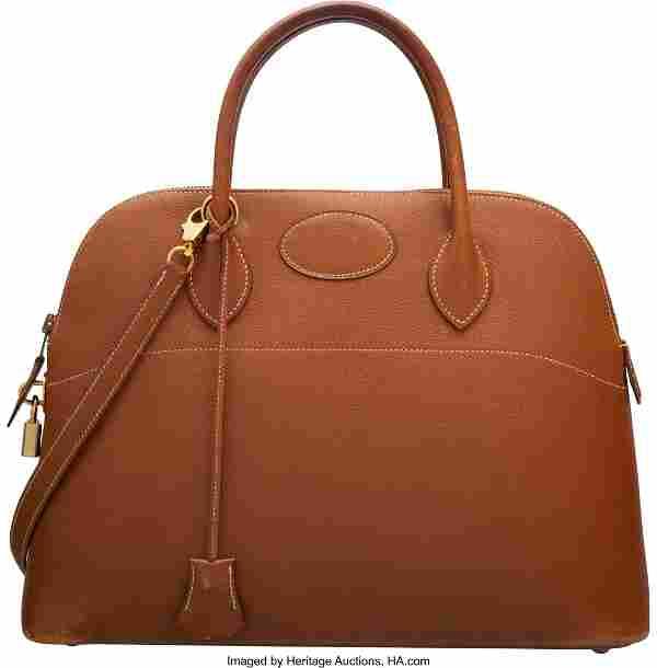 Hermes Vintage 35cm Gold Epsom Leather Bolide Ba