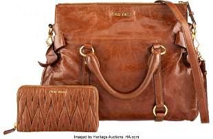 14287: Miu Miu Set of Two: Bow Top Handle Bag and Walle
