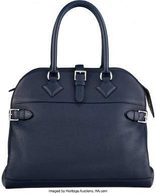 14085: Hermès 35cm Deep Blue Clemence Leather Atlas Ba