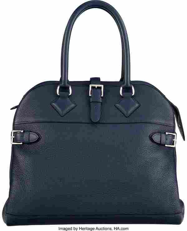 Hermès 35cm Deep Blue Clemence Leather Atlas Ba