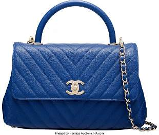 14090: Chanel Blue Chevron Quilted Caviar Leather Small