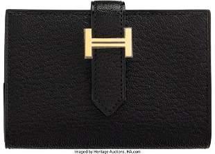14156: Hermès Black Chevre Leather Compact Bearn Walle