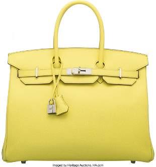 14018: Hermès 35cm Lime Epsom Leather Birkin Bag with
