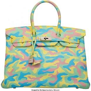 14019: Hermès 35cm Customized Multi-Color Camouflage C