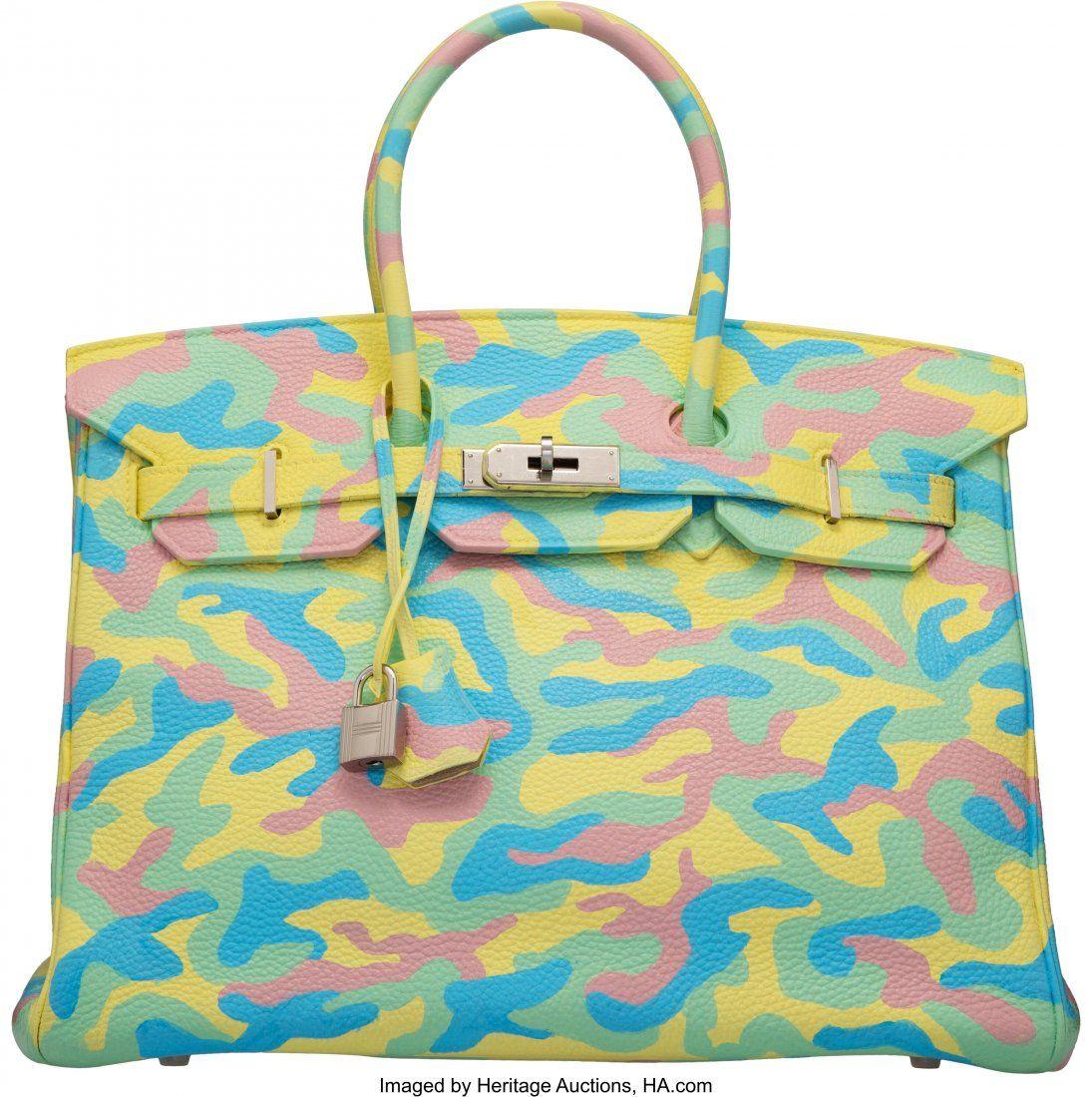Hermès 35cm Customized Multi-Color Camouflage C