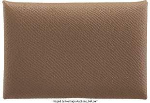 14159: Hermès Etoupe Epsom Leather Calvi Card Holder Y