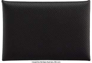14160: Hermès Black Epsom Leather Calvi Card Holder D,