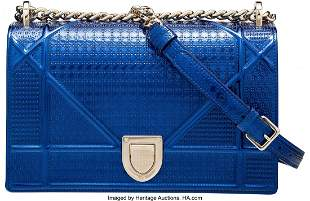 14098: Christian Dior Metallic Blue Micro-Cannage Calfs