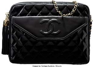 14184: Chanel Black Quilted Patent Leather Shoulder Bag