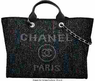 14048: Chanel Multicolor Sequin Deauville Tote Bag with