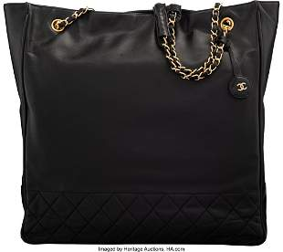 14189: Chanel Black Calfskin Leather Shopping Tote Bag