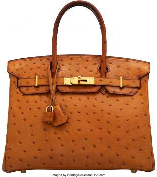 14125: Hermès 30cm Natural Ostrich Birkin Bag with Gol