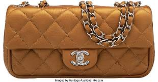 14131: Chanel Gold Quilted Calfskin Leather Small Flap