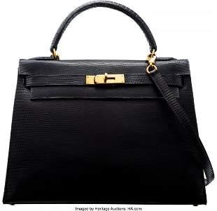 14060: Hermès Vintage 32cm Blue Tinted Black Lizard Se