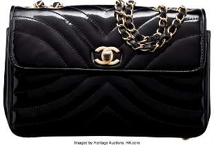 14062: Chanel Black Quilted Patent Leather Flap Bag wit