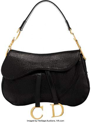 14064: Christian Dior Black Pebbled Leather Double Sadd