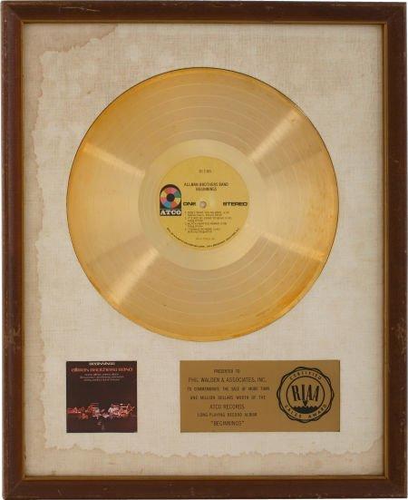 49007: The Allman Brothers Beginnings RIAA Gold Album A