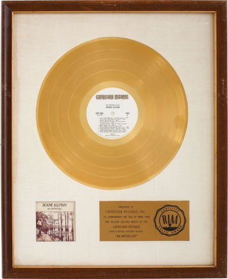 49011: Duane Allman An Anthology RIAA Gold Album Award.