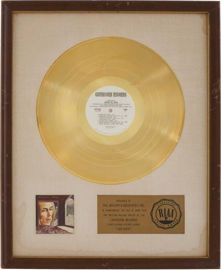 49012: Gregg Allman Laid Back RIAA Gold Album Award.