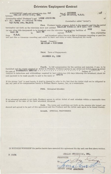 49014: Louis Armstrong Signed Contract.