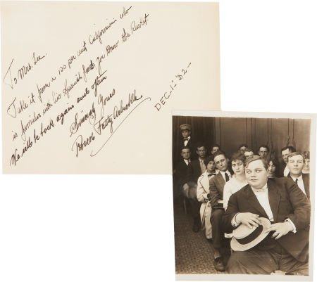 50009: Fatty Arbuckle Handwritten Note with Photo.