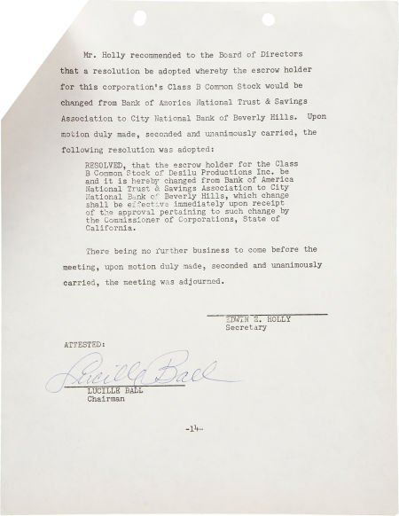50015: Lucille Ball Signed Special Meeting Minutes.