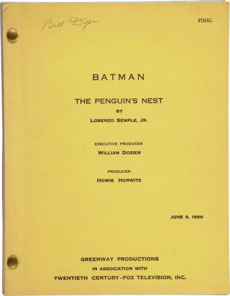 """50022: Batman """"The Penguin's Nest"""" Script."""