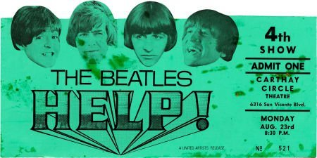 51011: Beatles Related - Help! Die-Cut Movie Ticket (Un