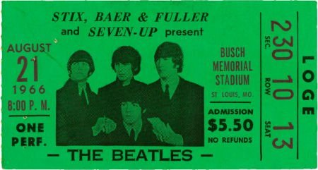 51012: The Beatles Busch Stadium Used Ticket - August 2