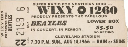 51013: Beatles Cleveland Stadium Concert Ticket Stub (1