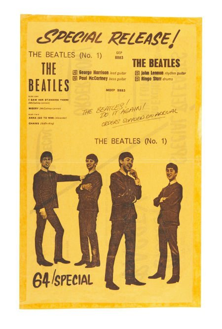 51017: The Beatles No. 1 EP Promo Flyer (1963).