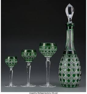A Thirty-Six Piece Bohemian Green Cut Glass Stem