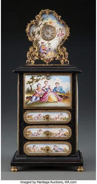 61099: A Viennese Ebonized Wood and Porcelain Miniature