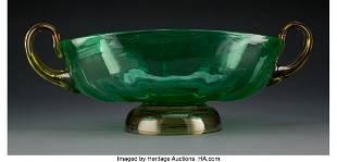 A Steuben Glass Bowl with Handles 5-3/4 x 16 x 8