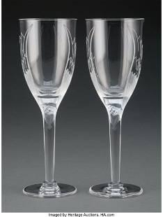 A Twelve-Piece Lalique Glass Angel Stemware Set,